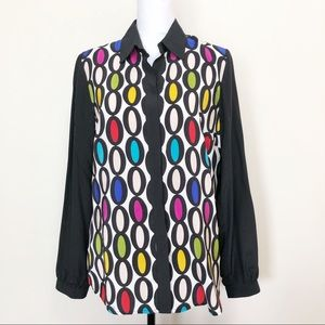 Trina Turk Silk Blouse Printed Button Down Shirt L
